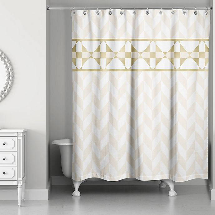 Alternate image 1 for Decorative Stripe Shower Curtain in Gold/Creme