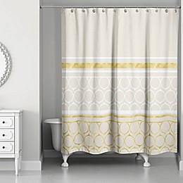 Rings Weighted Shower Curtain in Ivory/Gold