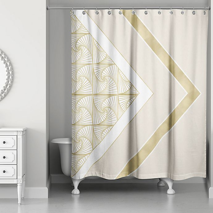 Alternate image 1 for Spirals Shower Curtain in Ivory/Gold