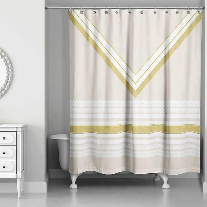 Alternate image 1 for Chevron Layer Shower Curtain in Ivory/Gold