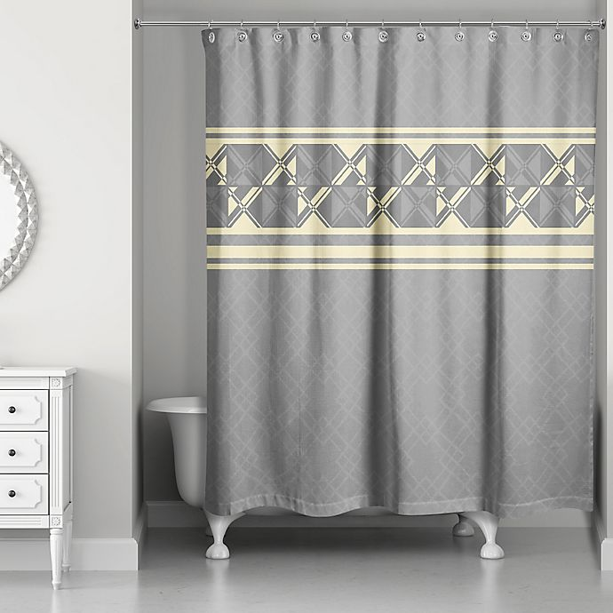 Alternate image 1 for Geometric Inversed Shower Curtain in Yellow/Grey
