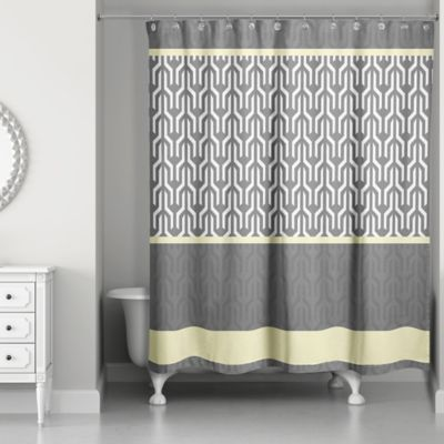 Trident Pattern Shower Curtain In Yellow Grey Bed Bath And Beyond