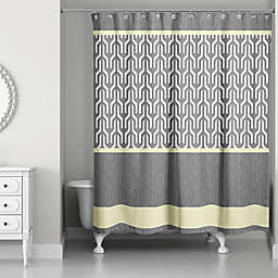 Trident Pattern Shower Curtain in Yellow/Grey
