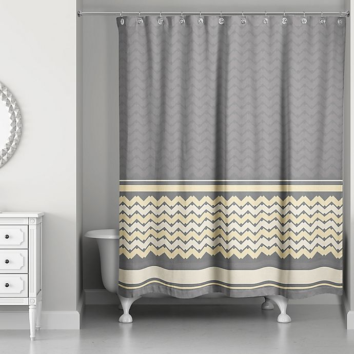 Alternate image 1 for Mixed Chevron Shower Curtain in Mellow Yellow/Grey