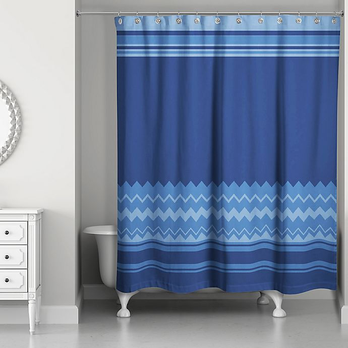 Alternate image 1 for Simple Chevron Shower Curtain in Navy