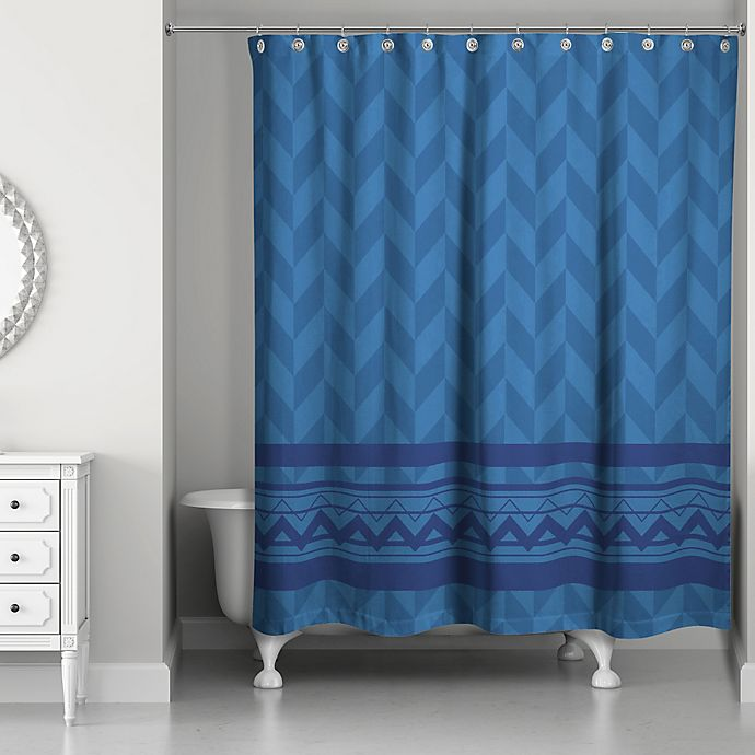 Alternate image 1 for Alternating Pattern with Chevron Shower Curtain in Navy
