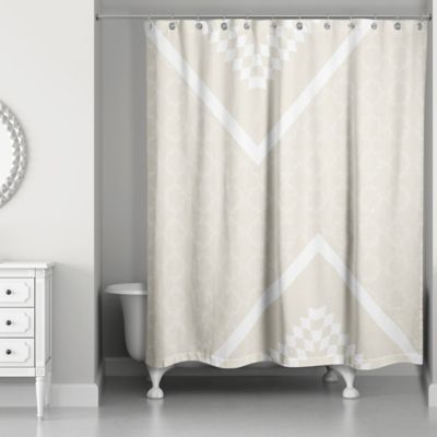 Decorative Quatrefoil Shower Curtain In Ivory Cream