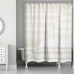 Inverse Chevrons Shower Curtain in Ivory