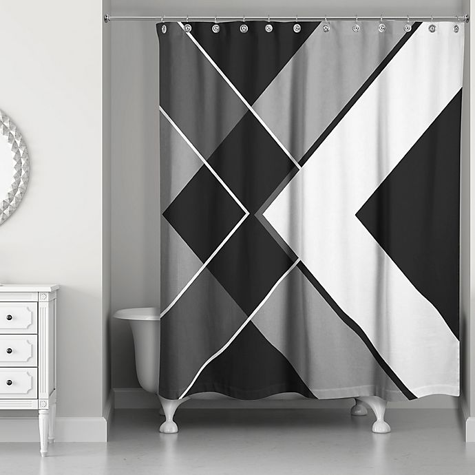 Alternate image 1 for Asymmetrical Angles Shower Curtain in Black/White