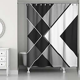 Asymmetrical Angles Shower Curtain in Black/White