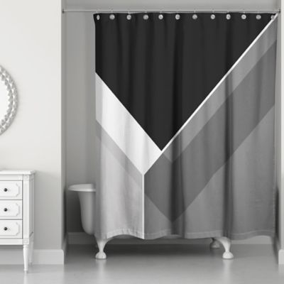 Asymmetrical Color Block Shower Curtain In Black Grey
