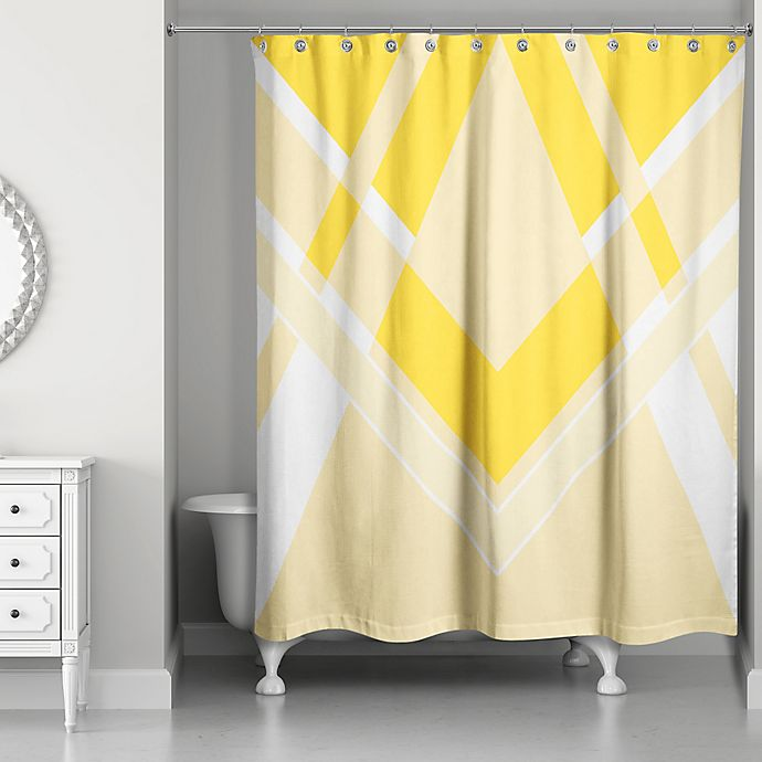 inversed bold triangle shower curtain in yellow white bed bath beyond. Black Bedroom Furniture Sets. Home Design Ideas