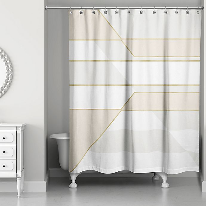 Alternate image 1 for Color Block Shower Curtain in Ivory/Gold