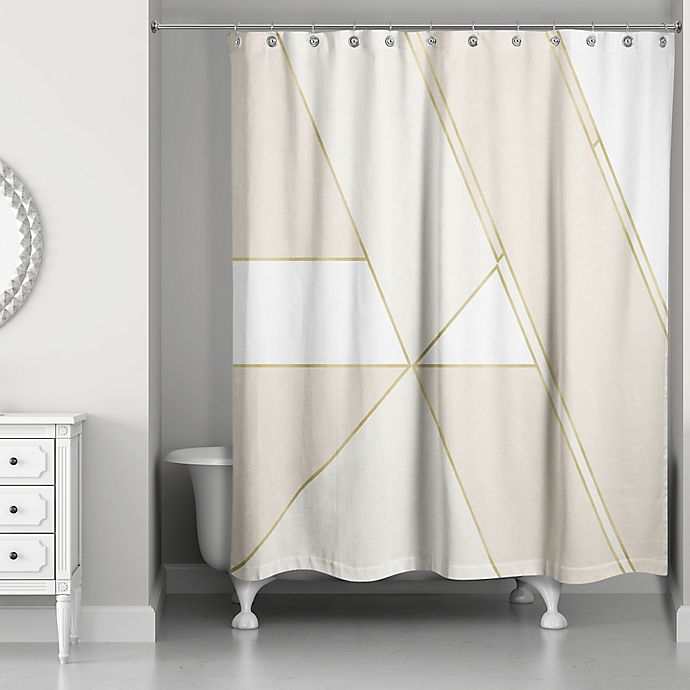 Alternate image 1 for Color Block Shower Curtain in Gold/Ivory