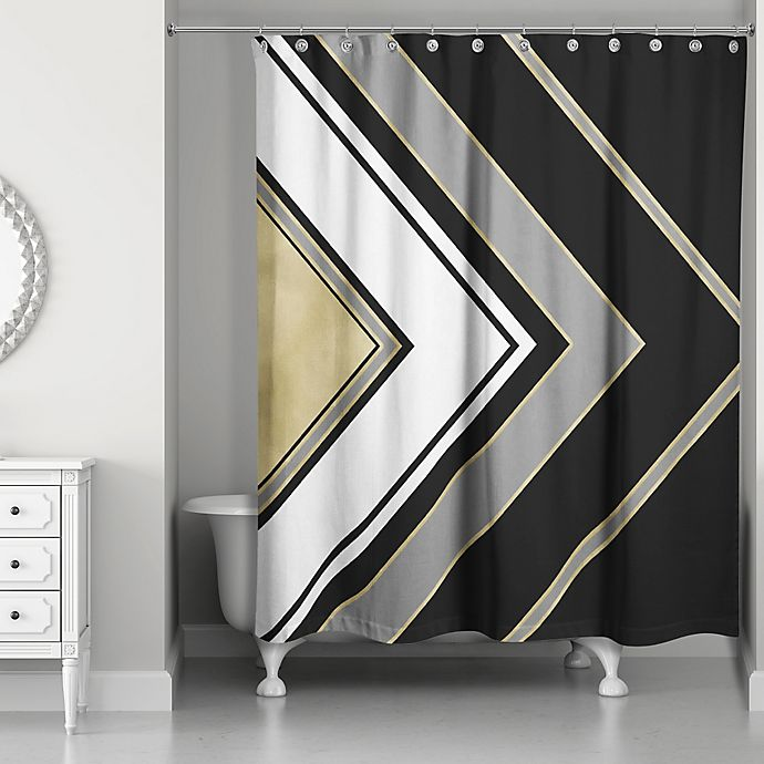 Alternate image 1 for Arrow Shower Curtain in Black/Gold/White/Grey