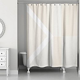 Inversed Color Blocking Shower Curtain in Ivory/White