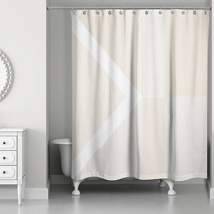 Alternate image 1 for Inversed Color Blocking Shower Curtain in Ivory/White