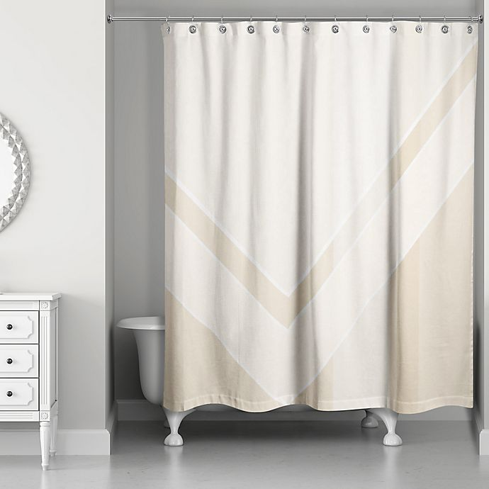 Alternate image 1 for Color Block Shower Curtain in Ivory/Creme