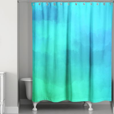 Watercolor Waterlife Shower Curtain In Blue Green