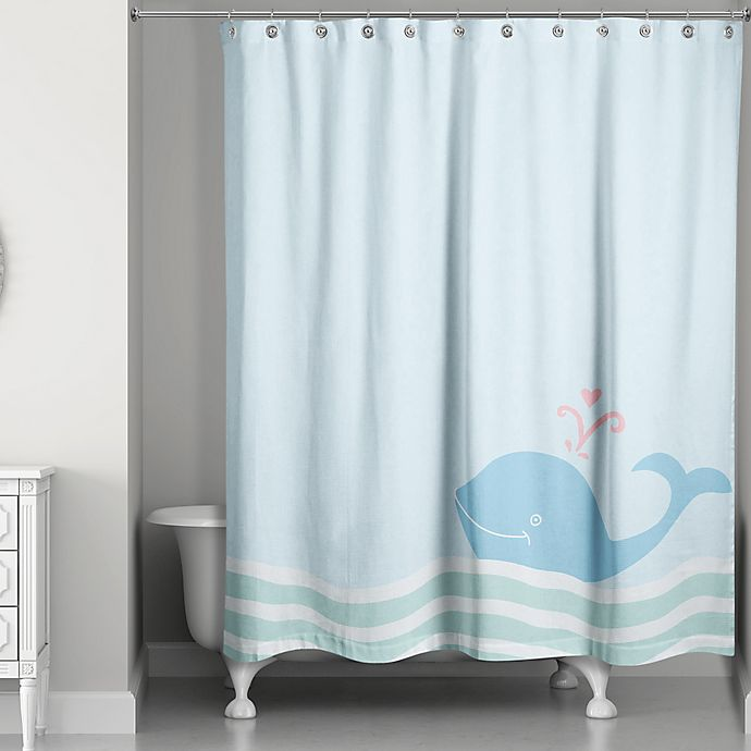 Alternate image 1 for Whale Wave Shower Curtain in Blue