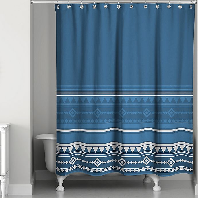 Alternate image 1 for Tribal Geo Shower Curtain in Blue