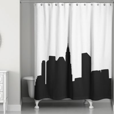City Skyline Shower Curtain In Black White