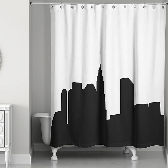 Ny Subway Map Shower Curtain.City Skyline Shower Curtain In Black White Bed Bath Beyond