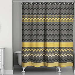Chevron Stripes Shower Curtain in Black/Gold