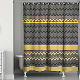 Chevron Stripes Shower Curtain In Black Gold