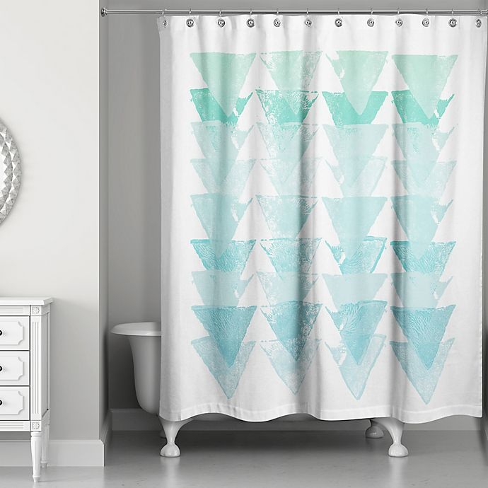 Alternate image 1 for Sea Glass Triangles Shower Curtain in Blue/White