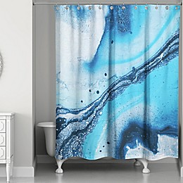 Galaxy Marble Shower Curtain in Blue