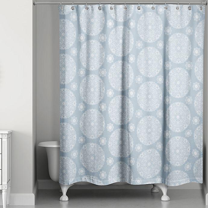 Alternate image 1 for Medallions Shower Curtain in Soft Blue