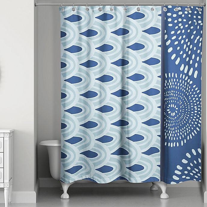 Alternate image 1 for Tribal Color Block Shower Curtain in Blue