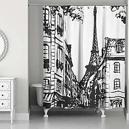 Monochromatic Paris Shower Curtain in Black/White