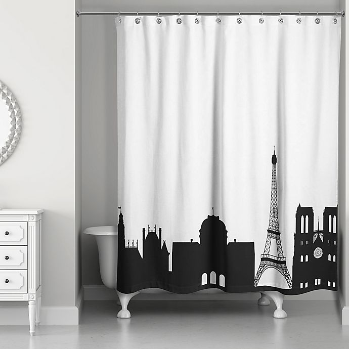 Alternate image 1 for Paris Monuments Shower Curtain in Black/White