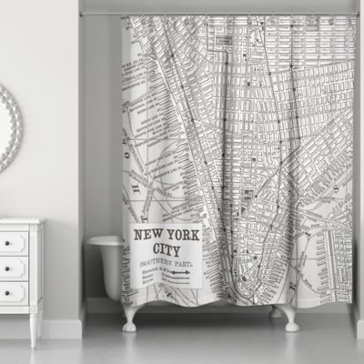 New York City Lines Map Shower Curtain In Black White