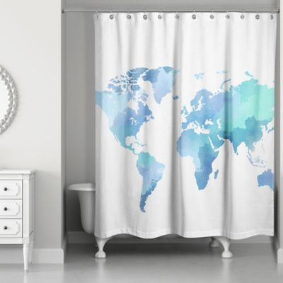 Watercolor World Shower Curtain In White Blue