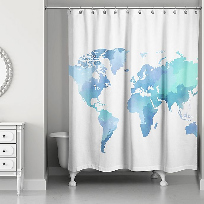 Watercolor World Shower Curtain In White/Blue