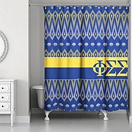 Phi Sigma Sigma Shower Curtain in Blue/Yellow