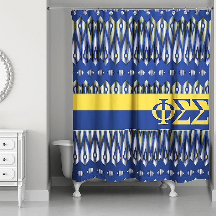 Alternate image 1 for Phi Sigma Sigma Shower Curtain in Blue/Yellow