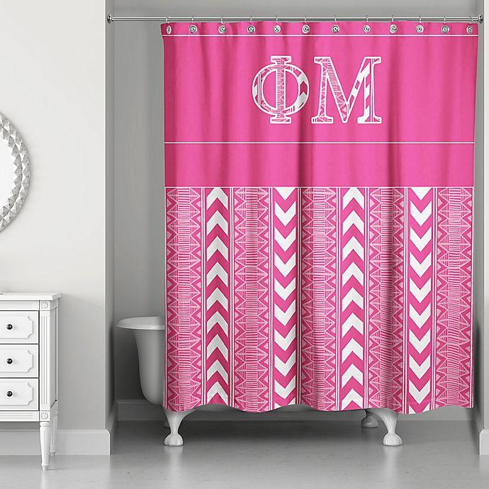 Alternate image 1 for Phi Mu Shower Curtain in Pink/White