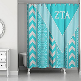 Zeta Tau Alpha Shower Curtain in Teal/Grey