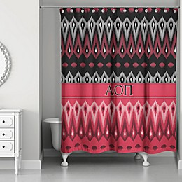 Alpha Omicron Pi Shower Curtain in in Red/Black