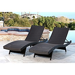 Abbyson Living® Redondo Outdoor Adjustable Wicker Chaise (Set of 2)