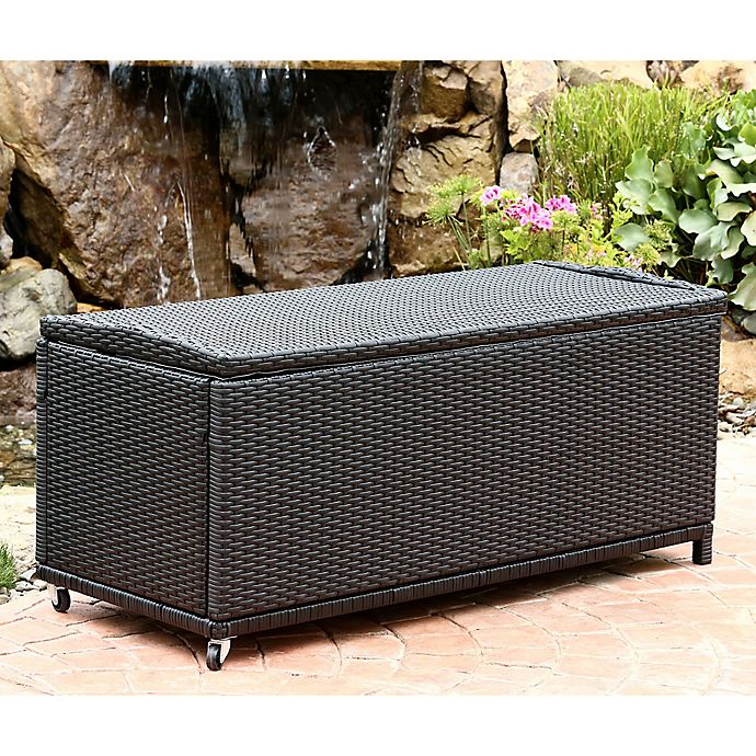 Abbyson Living® Pasadena Outdoor Wicker Storage Ottoman in ... on Outdoor Living Wicker id=12711