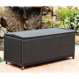 Abbyson Living® Pasadena Outdoor Wicker Storage Ottoman in Black