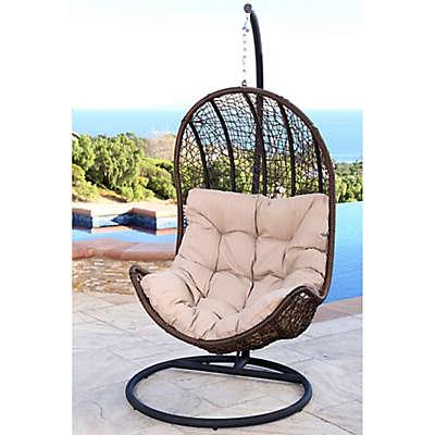 Abbyson Living® Newport Outdoor Wicker Egg-Shaped Swing Chair in Brown/Beige