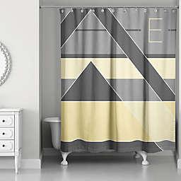 Color Blocking Monogram Shower Curtain