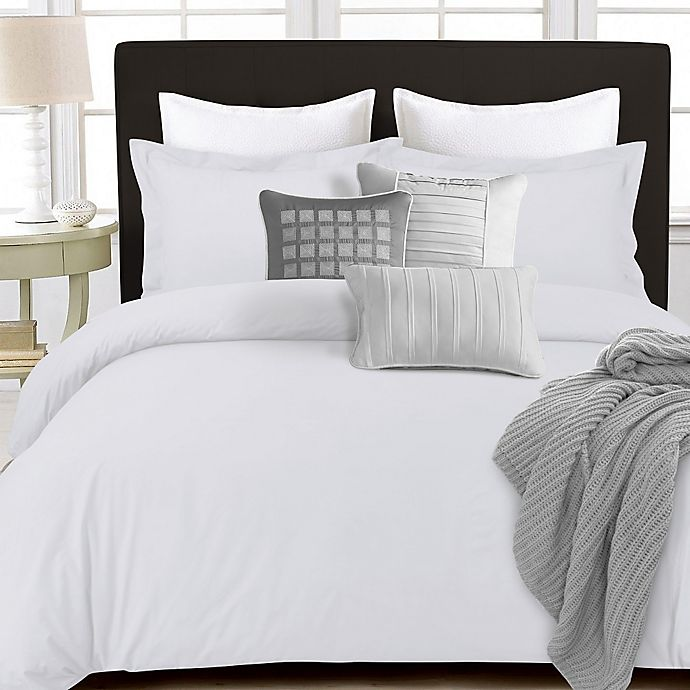 Alternate image 1 for Tribeca Living 350-Thread-Count Cotton Percale Reversible Queen Duvet Cover Set in White