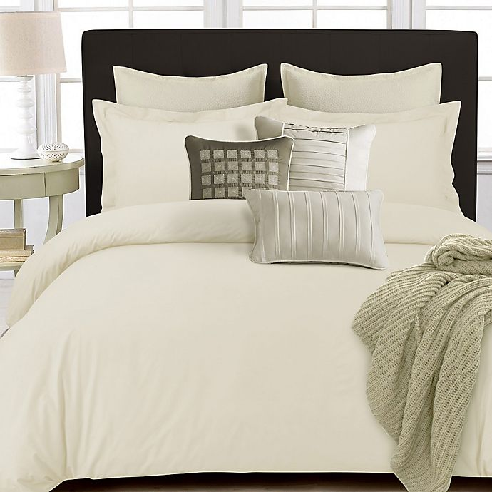 Alternate image 1 for Tribeca Living 350-Thread-Count Cotton Percale Reversible Queen Duvet Cover Set in Ivory
